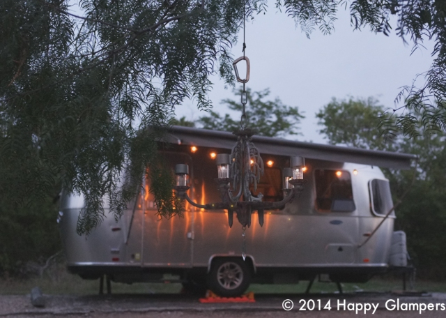DIY outdoor chandelier and airstream