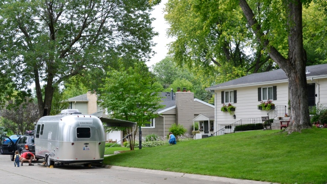 Our first street camping in suburban Minneaopolis