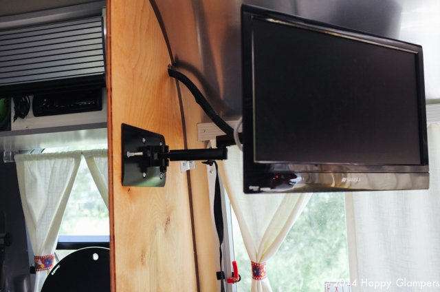 Airstream divider improvement TV mount