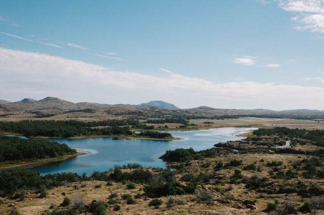 Wide view of Quanah Parker Lake at the Wichita Mountain NWR.