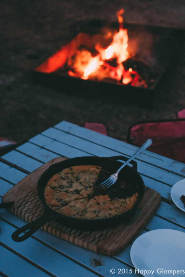 Glamping cooking giant cookie