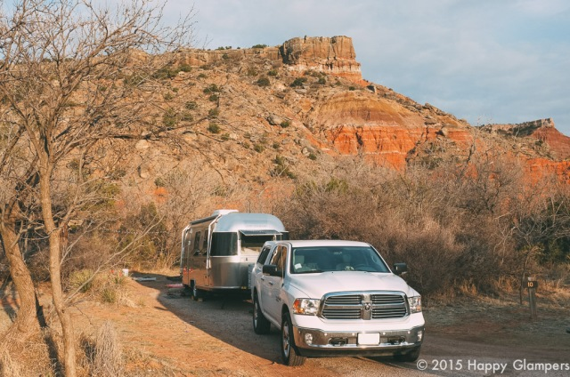 Airstream glamping at Palo Duro Canyon State Park TX