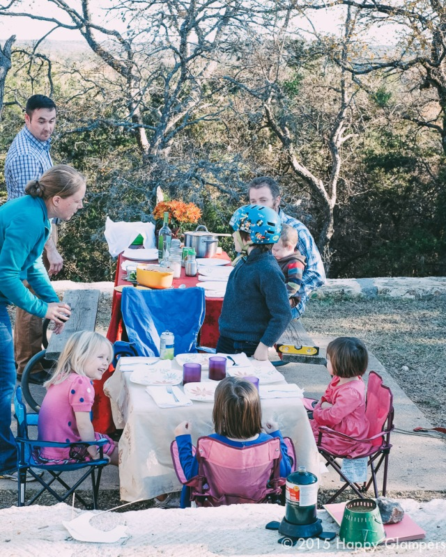 Thanksgiving camping clamping kids